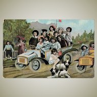 Cute Vintage Postcard with Kids in a Car and Dogs. 1909