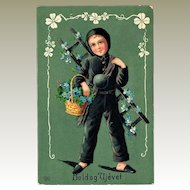 New Years Postcard with Little Chimney Sweeper Art Nouveau 1903