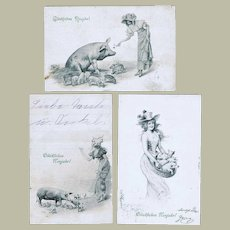 3 Happy New Year Postcards Ladies and Pigs Art Nouveau