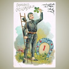 New Years Litho Postcard with Chimney Sweeper c. 1900