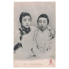 Chinese Vintage Postcard with Young Tartar Girls from Peking.