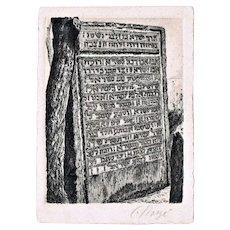 Israel Horowitz Rabbi in Prague Stele as old Etching. Artist Signed