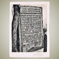 Israel Horowitz Rabbi in Prague Stele as old Etching. Artist Signed