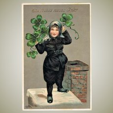 New Year Postcard with Chimney Sweeper and Clover 1911