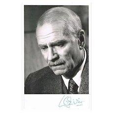 Laurence Olivier Autograph on b/w Photo CoA