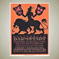 Decorative Poster for German Museum Darmstadt from 1914