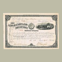 Stock Certificate The Cedar Falls and Minnesota Railroad Company from 1896