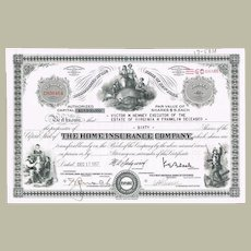 Old Decorative Share The Home Insurance, Vignettes, Fire Fighter.