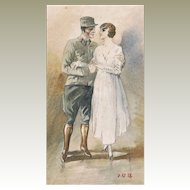 Soldier and Bride Authentic Watercolor from 1918