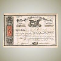 Civil War Era Stock Certificate Peoples National Bank of Waterville 1867