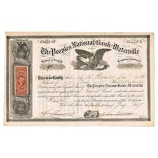 Civil War Era Stock Certificate Peoples National Bank of Waterville 1867