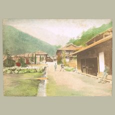 Old Tinted Japanese Photo With Village Scene c. 1900