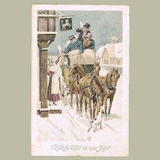 Happy New Year Art Nouveau Vintage Postcard 1911
