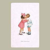 Cute Postcard The First Kiss. 2 Children Kissing