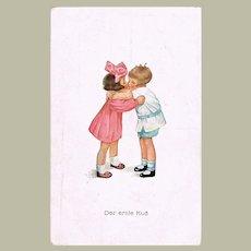 Cute Postcard The First Kiss. 2 Children Kissing