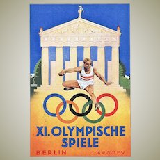 Olympic Games Berlin 1936. Poster Style Postcard