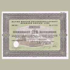 Hermann Goering Factory Stock Certificate WWII Scarce and Important Document