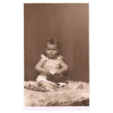 Baby Girl with Teddy Bear Photograph from 1923