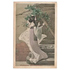 Christmas Postcard Lady with Mistletoe Art Deco by Sergius Hruby