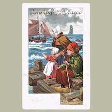 Decorative Cocoa Advertising Postcard from 1908