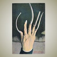 Antique Chinese Postcard with Extreme Fingernails