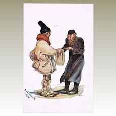 Vintage Postcard with Jewish Merchant. Fieldpost 1918
