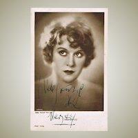 Mary Kid Silent Movies Star Autograph on Photo Postcard. CoA