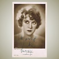 Mary Kid Silent Movies Star Autograph on Photo Postcard. CoA