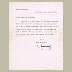 Movie Director Emil Jannings Autograph. Signed Letter from 1947