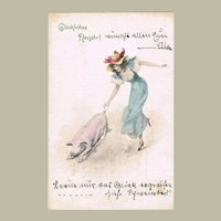 New Year's Art Nouveau Postcard Lady with Pig
