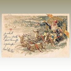 Xmas Litho Postcard with Santa Claus from 1901