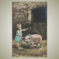 New Years Postcard with Girl and Pig from 1906