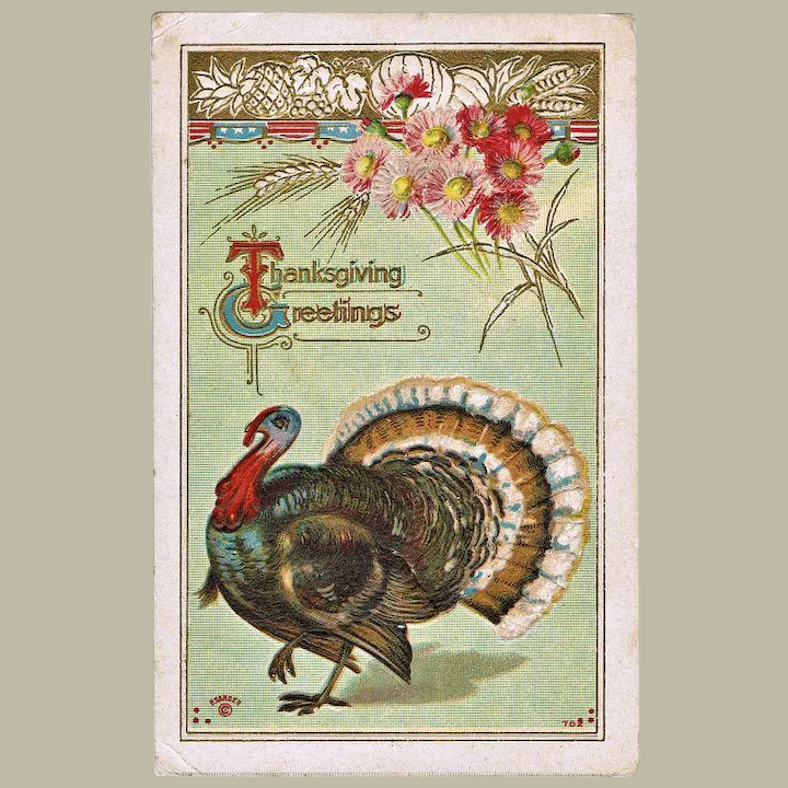 Vintage Thanksgiving Postcard With Turkey Collect At Curioshop Ruby Lane