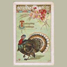 Vintage Thanksgiving  Postcard with Turkey