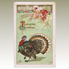 Vintage Thanksgiving  Postcard with Turkey