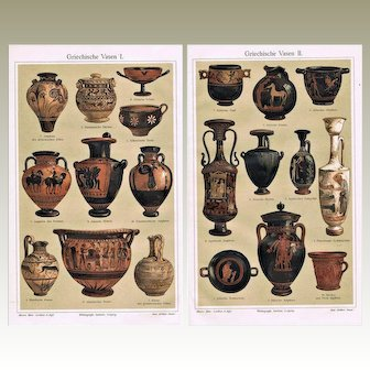 Two Antique Greek Vases Chromo Lithograph from 1900