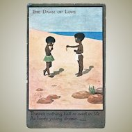 Cute Romantic Vintage Postcard with Two Black Kids