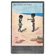 Cute Romantic Vintage Postcard with Two Black Kids