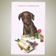 Vintage Birthday Postcard with Dachshund