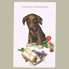Vintage Birthday Postcard with Dachshund