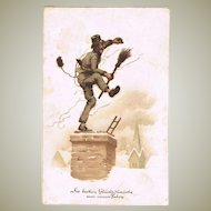 New Year's Postcard with Funny Chimney Sweeper