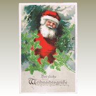 Decorative Xmas Postcard with Santa Claus Lithograph