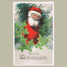 Decorative Xmas Postcard with Santa Claus Lithograph
