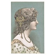 Decorative Art Nouveau Postcard Girl with Adornment