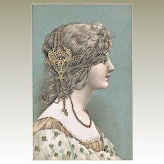 Decorative Art Nouveau Postcard Girl with Adornment