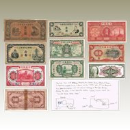 Old China Banknote Lot of 9 + Special Note