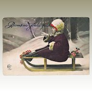 Little Girl on Sled Lovely Old Xmas Postcard