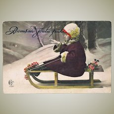 Little Girl on Sled Lovely Old Xmas Postcard