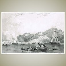 Old Chinese Graphic by Thomas Allom: Close of Attack on Shapoo