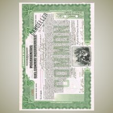 Pocahontas Stock Certificate with Indian Vignette from 1907